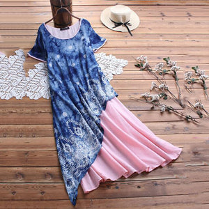 Round Collar Starry Sky Print Short Sleeve Irregular Dress