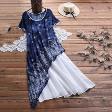 Load image into Gallery viewer, Round Collar Starry Sky Print Short Sleeve Irregular Dress