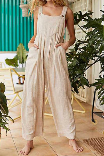 Women's Pure Color Strap Jumpsuits