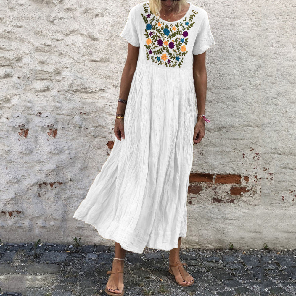 Summer Vintage Embroidered Vacation Dresses