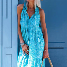 Load image into Gallery viewer, V Neck Kaftan Tribal Blue Date Casual Cotton-Blend Dress