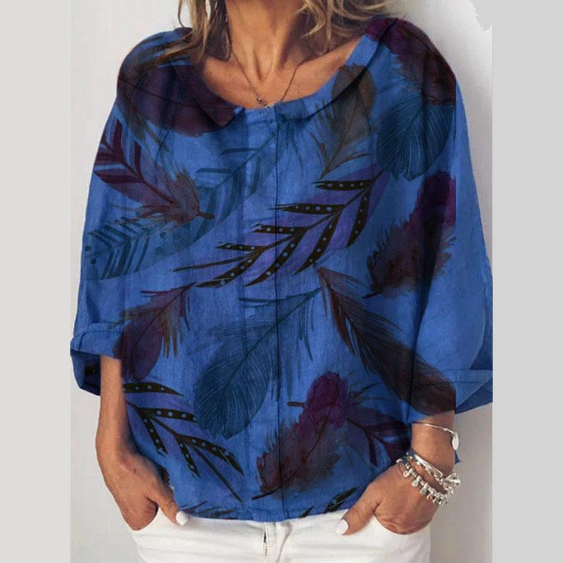 Casual Loose Sleeves Round Neck Print Shirt