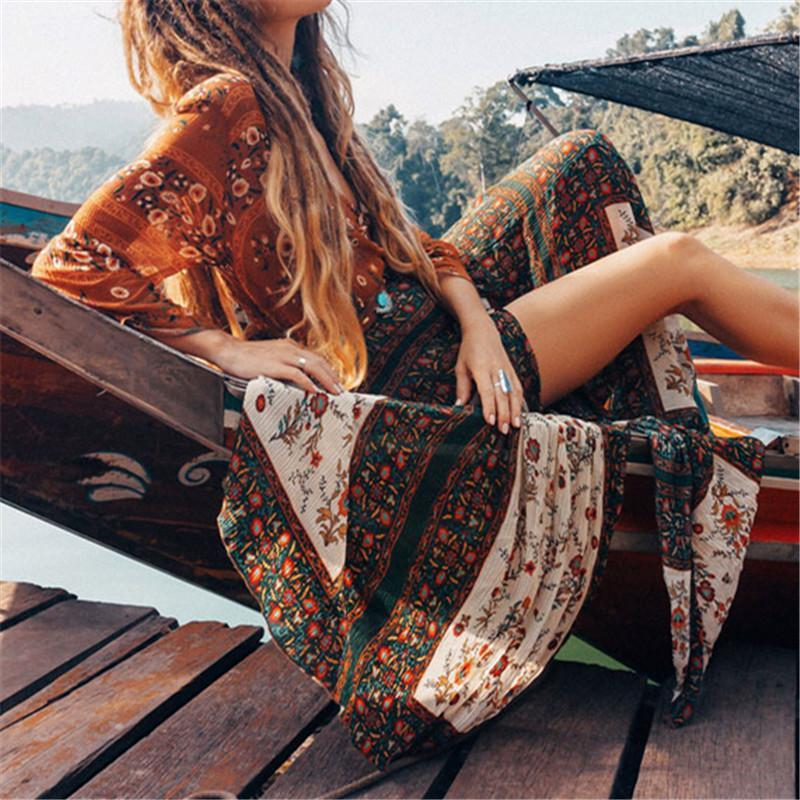 Women's V-Neck Long Sleeve Loose Printed Dresses
