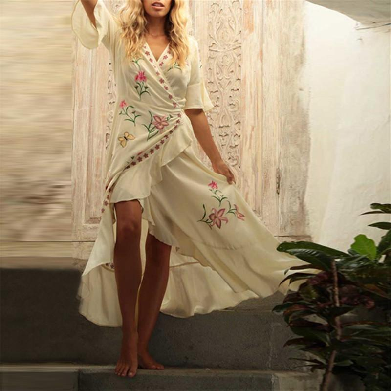 Women's Cross V-Neck Embroidered Ruffle Five-Points Sleeve Dresses