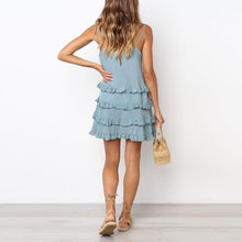 Load image into Gallery viewer, Temperate Ruffled Tie U-Neck   Solid Color Mini Dress