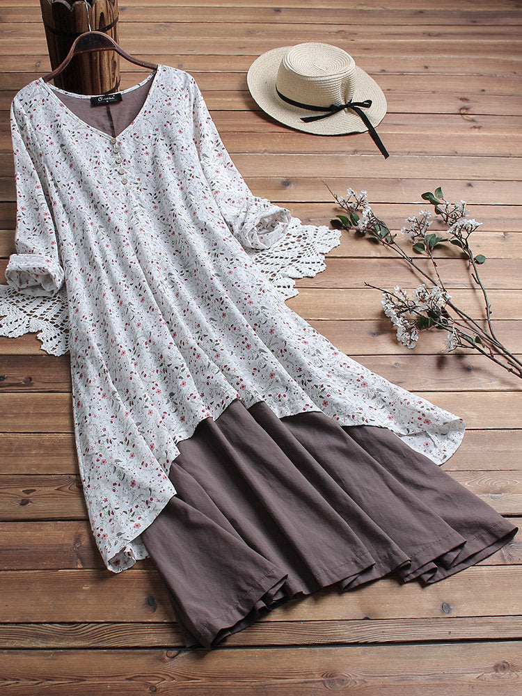 Fashion Printed Two-Piece Stitching Long-Sleeved Dresses