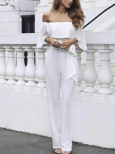 Fashion Shoulder-Out White Jumpsuits
