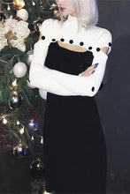 Load image into Gallery viewer, Sexy Stylish Slim Black & White Joint High Collar Long Sleeve Bodycon Dress