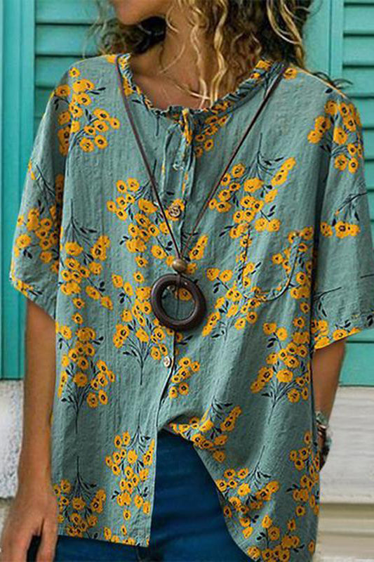 Loose Casual Printing With Short-Sleeved Blouses