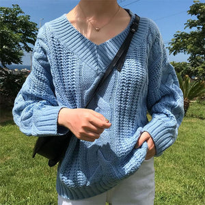 Casual V Neck Pure Colour Rough Wool Yarn Sweater