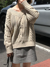 Load image into Gallery viewer, Casual V Neck Pure Colour Rough Wool Yarn Sweater