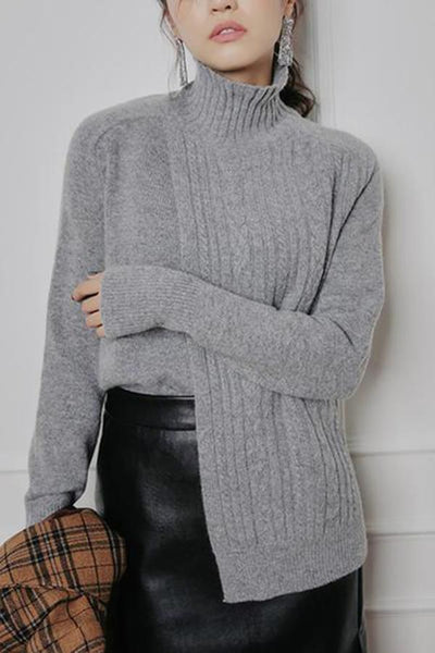 Fashion Half High Collar Pure Colour Knitted Sweater