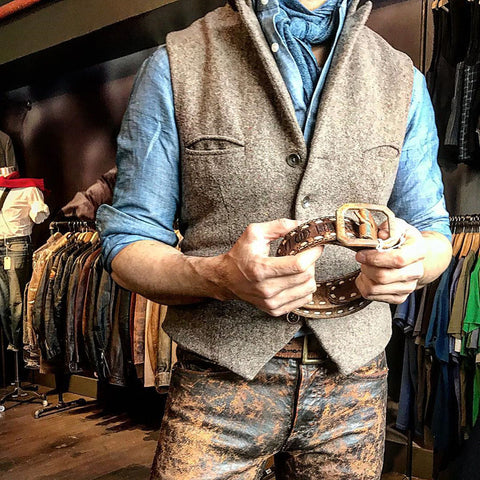 British style folded collar solid color single-breasted men's vest