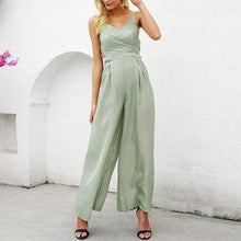 Load image into Gallery viewer, Casual V Neck Sling Slim Pure Colour Jumpsuits