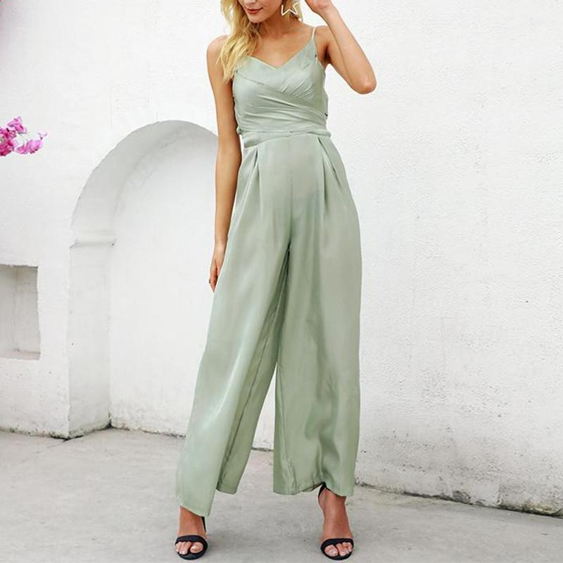 Casual V Neck Sling Slim Pure Colour Jumpsuits