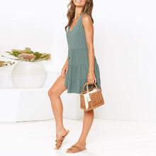 Load image into Gallery viewer, Fashion Casual V-Neck Solid   Pleated Dress