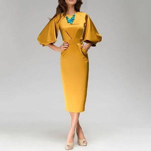 Sexy Seven-Minutes Lantern Sleeves Solid Color Bodycon Dress