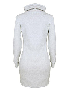 High Collar Long Sleeve Bodycon Dress