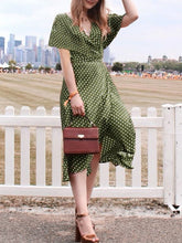 Load image into Gallery viewer, Fashion Ruffled Deep V Polka Dot Slit Casual Dresses