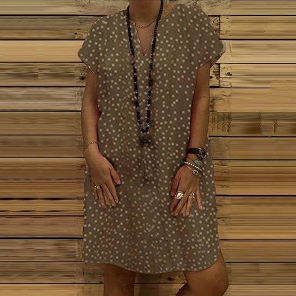 Casual loose wave dot printing V-collar dress