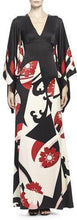 Load image into Gallery viewer, Elegant Fashion Slim Floral V Collar Flare Long Sleeve High Waist Maxi Evening Dress