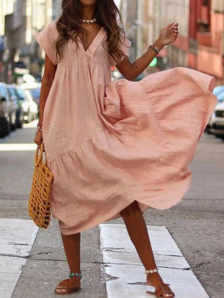 Casual Pure Colour V Neck Loose Short Sleeve Dresses