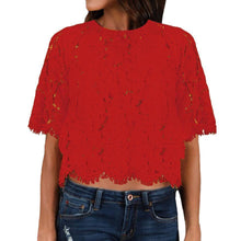 Load image into Gallery viewer, Pierced  Lace Middle Length Sleeve  T-Shirts