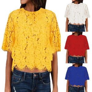 Pierced  Lace Middle Length Sleeve  T-Shirts