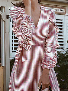 Fashion Belted V Neck Striped Slit Casual Dresses