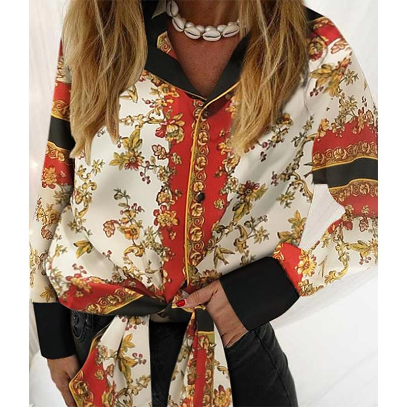 Fashion Slit Printed Colour Long Cardigan Shirt