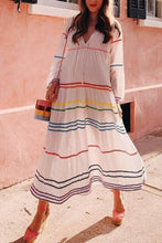 Load image into Gallery viewer, Loose V-Neck Rainbow Ribbon Casual Maxi Dress