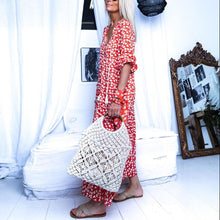 Load image into Gallery viewer, V-Neck Tassel Casual Print Maxi Dress