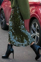 Load image into Gallery viewer, Green Sequin  Bodycon Skirt