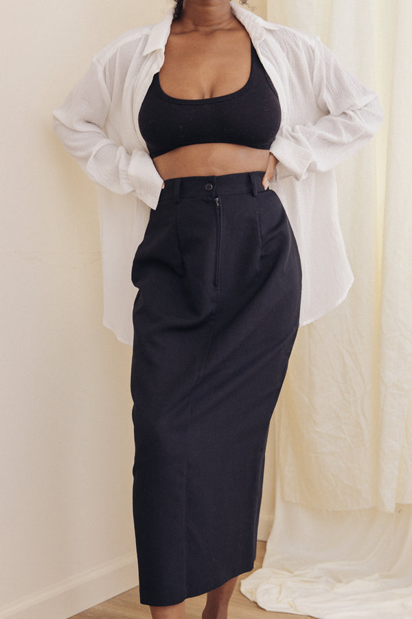 Black Pencil Skirt With Slit (S)
