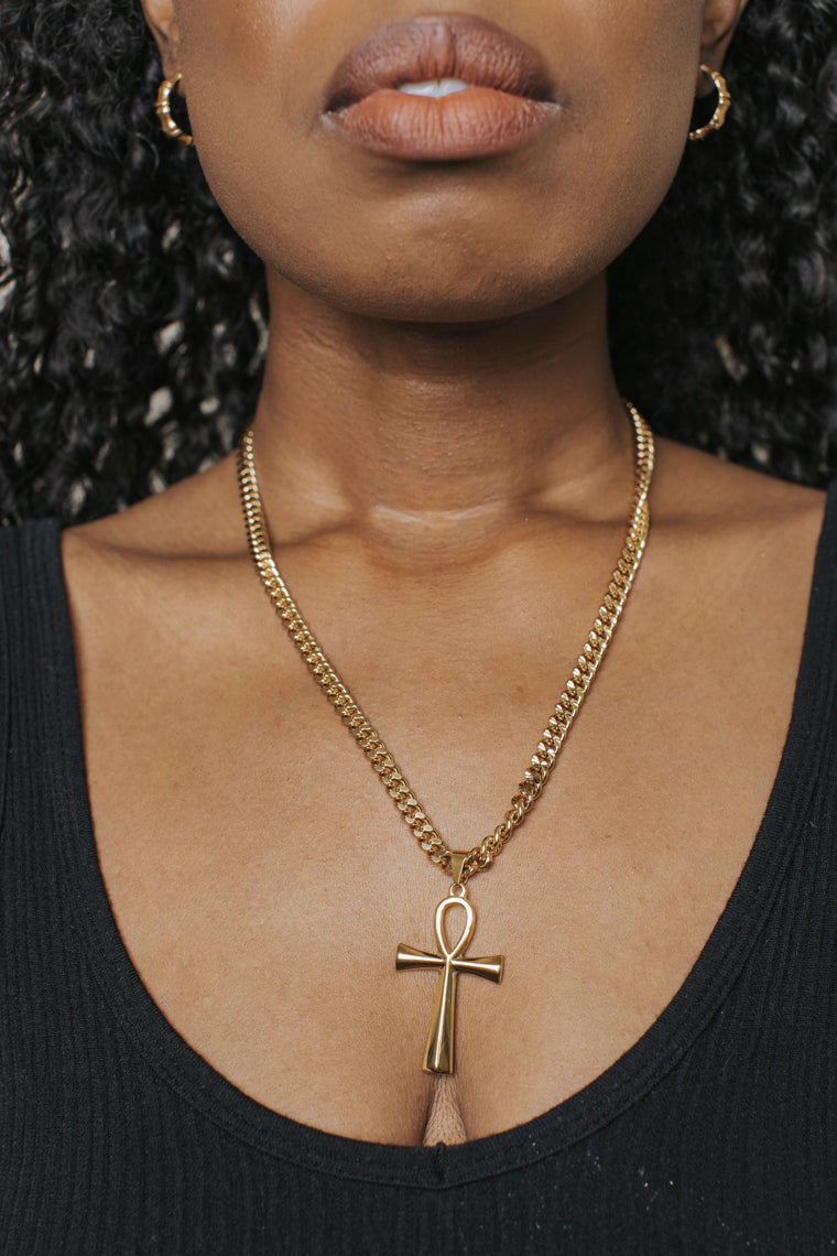Ankh 18K Gold Filled Chain Necklace