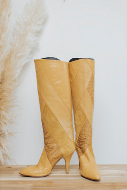 Yellow Snakeskin Leather Boot Size 7