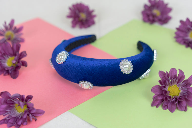 Pearl Button Padded Headband