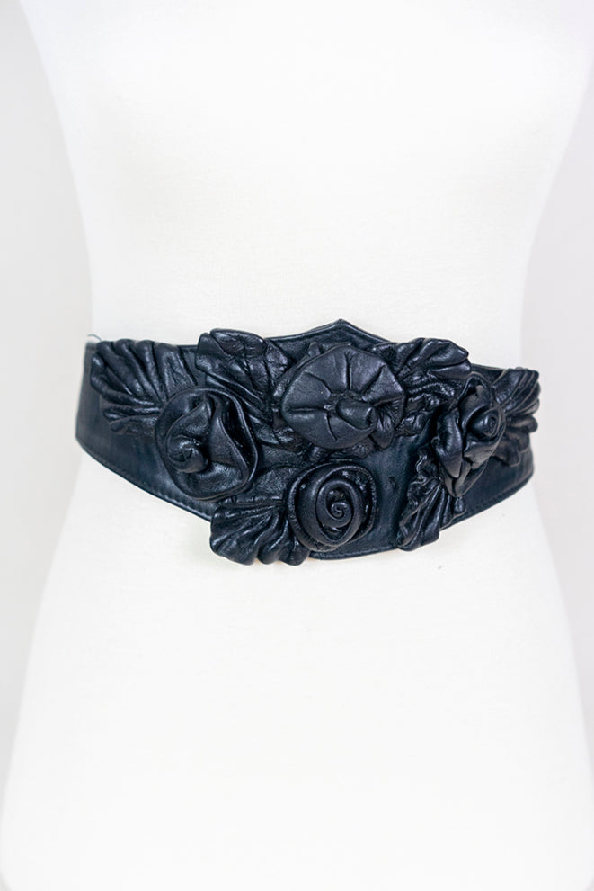 Leather 3d Floral Belt (S/M)