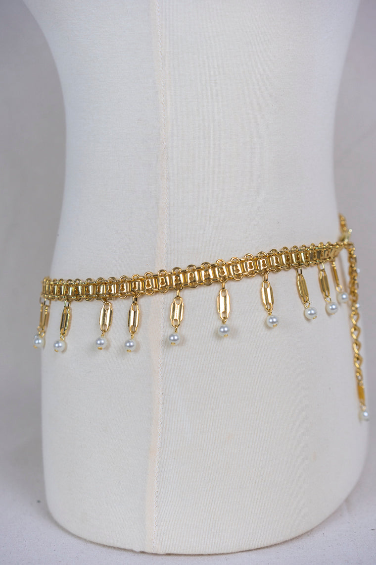 Lock and Pearl Chain Belt (S/M)