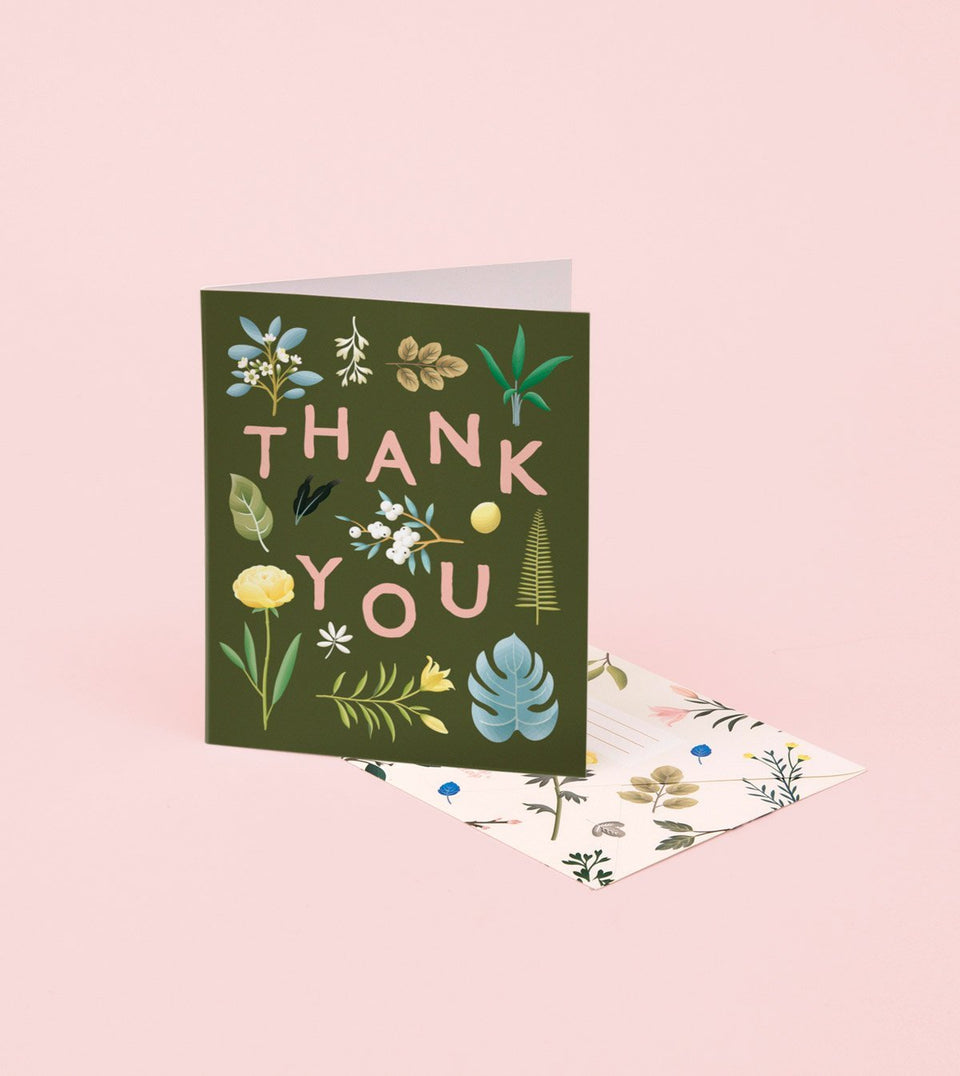 ASSORTED BOTANICAL THANK YOU CARD – KHAKI - GT10 - Clap Clap