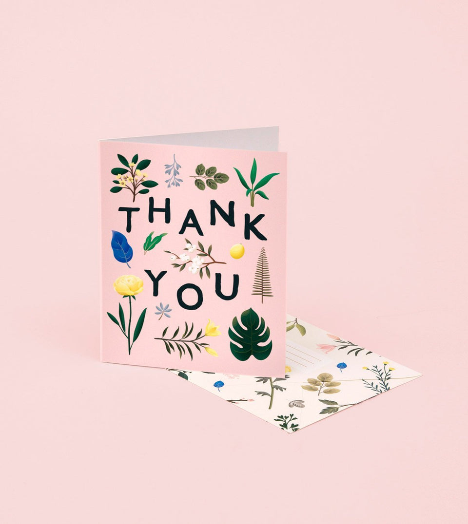 ASSORTED BOTANICAL THANK YOU CARD – PINK - GT11 - Clap Clap