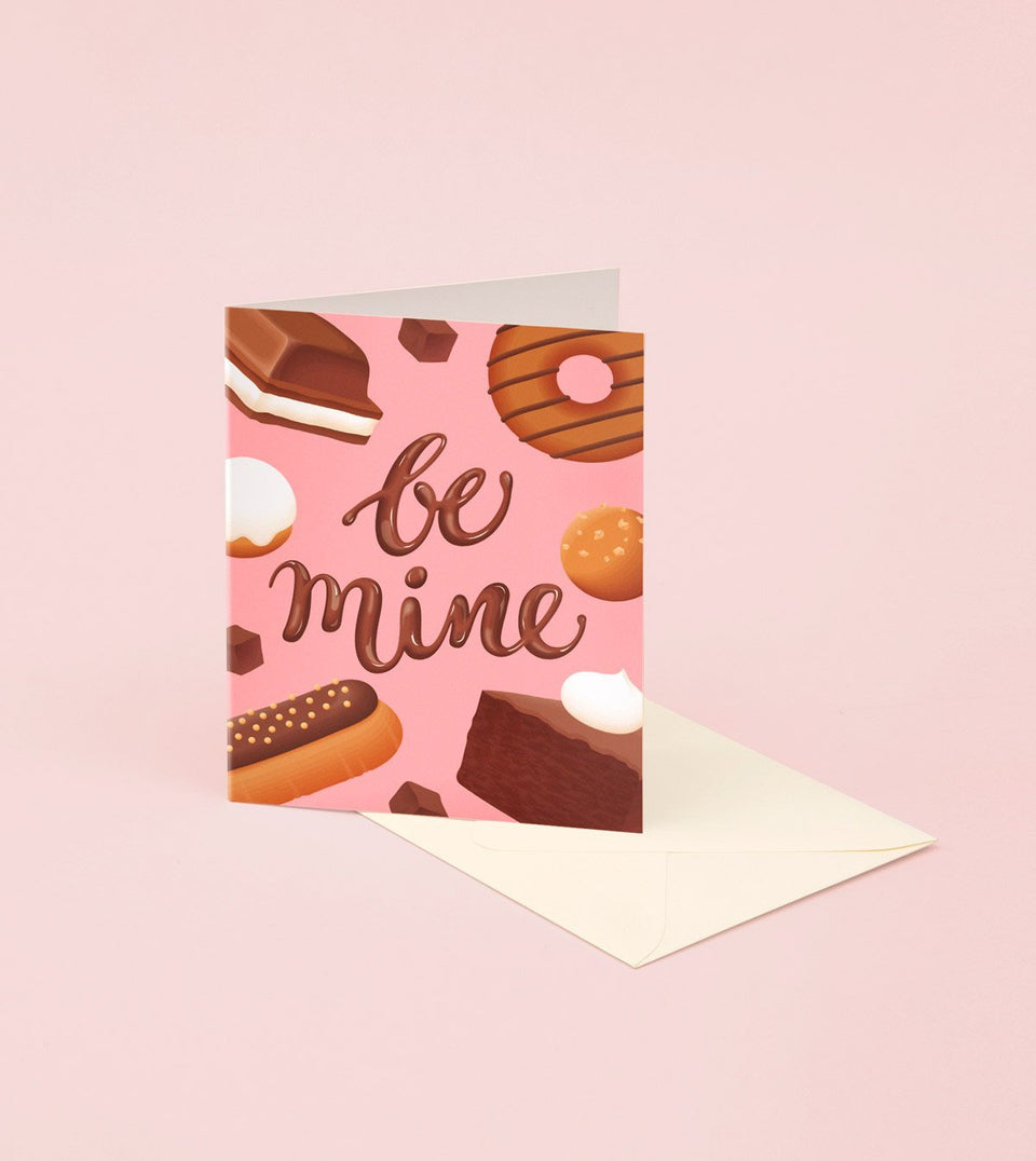 CHOCOLATE DESSERT BE MINE VALENTINE'S DAY CARD - GM25 - Clap Clap