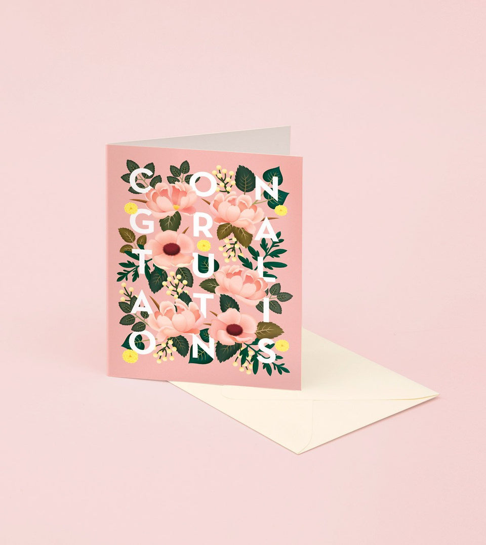 DUSTY PINK FLORAL CONGRATULATIONS CARD - GC07 - Clap Clap