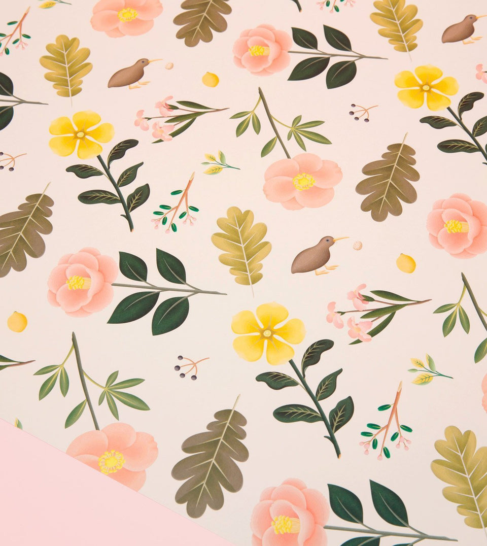 GARDEN BLOOM WRAPPING PAPER - CREAM - WR14 - Clap Clap