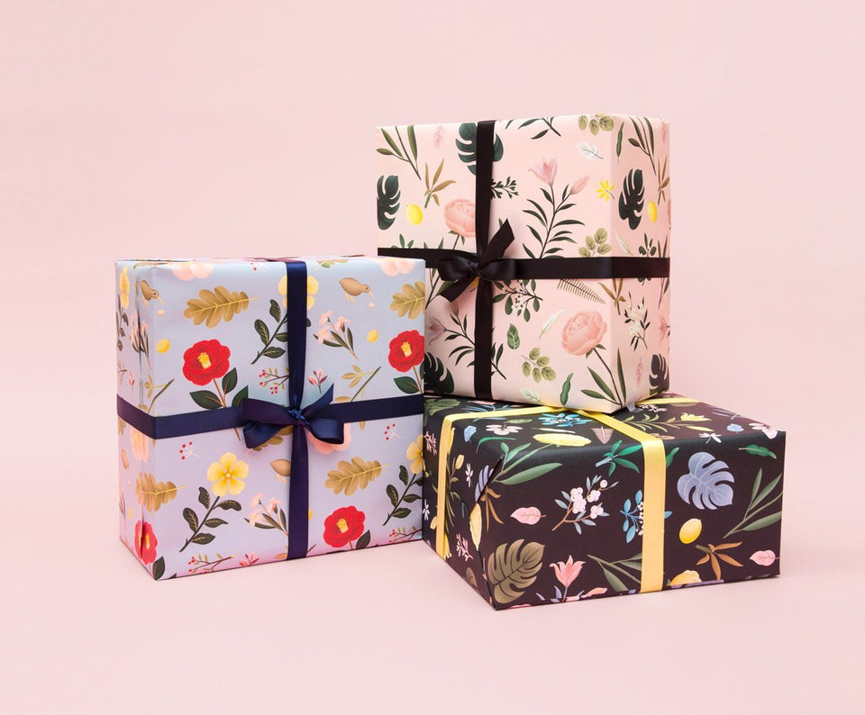 GARDEN BLOOM WRAPPING PAPER - DUSTY BLUE - WR13 - Clap Clap