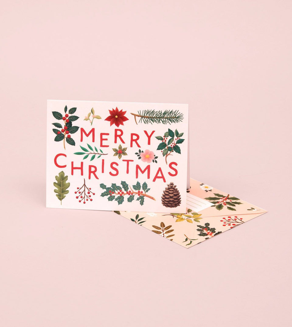 HOLIDAY PLANTS MERRY CHRISTMAS CARD – CREAM - GH19 - Clap Clap
