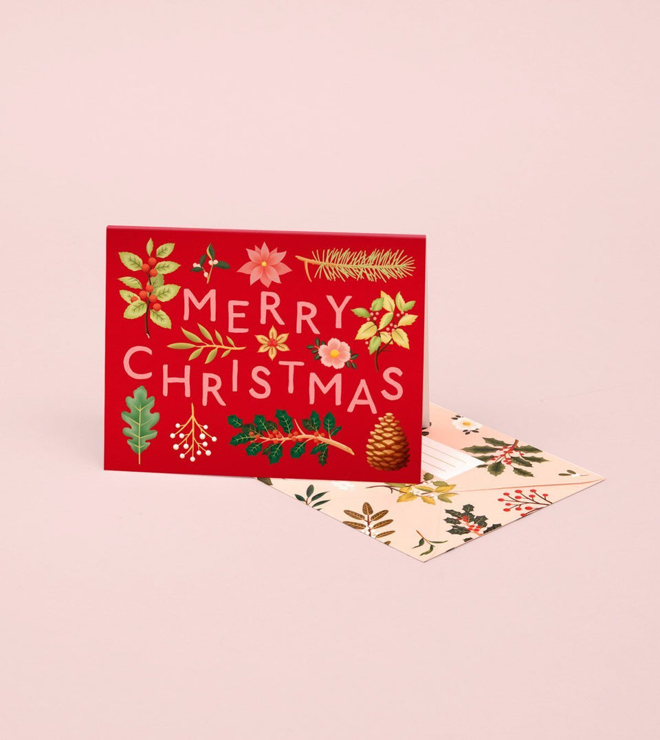 HOLIDAY PLANTS MERRY CHRISTMAS CARD – RED - GH20 - Clap Clap