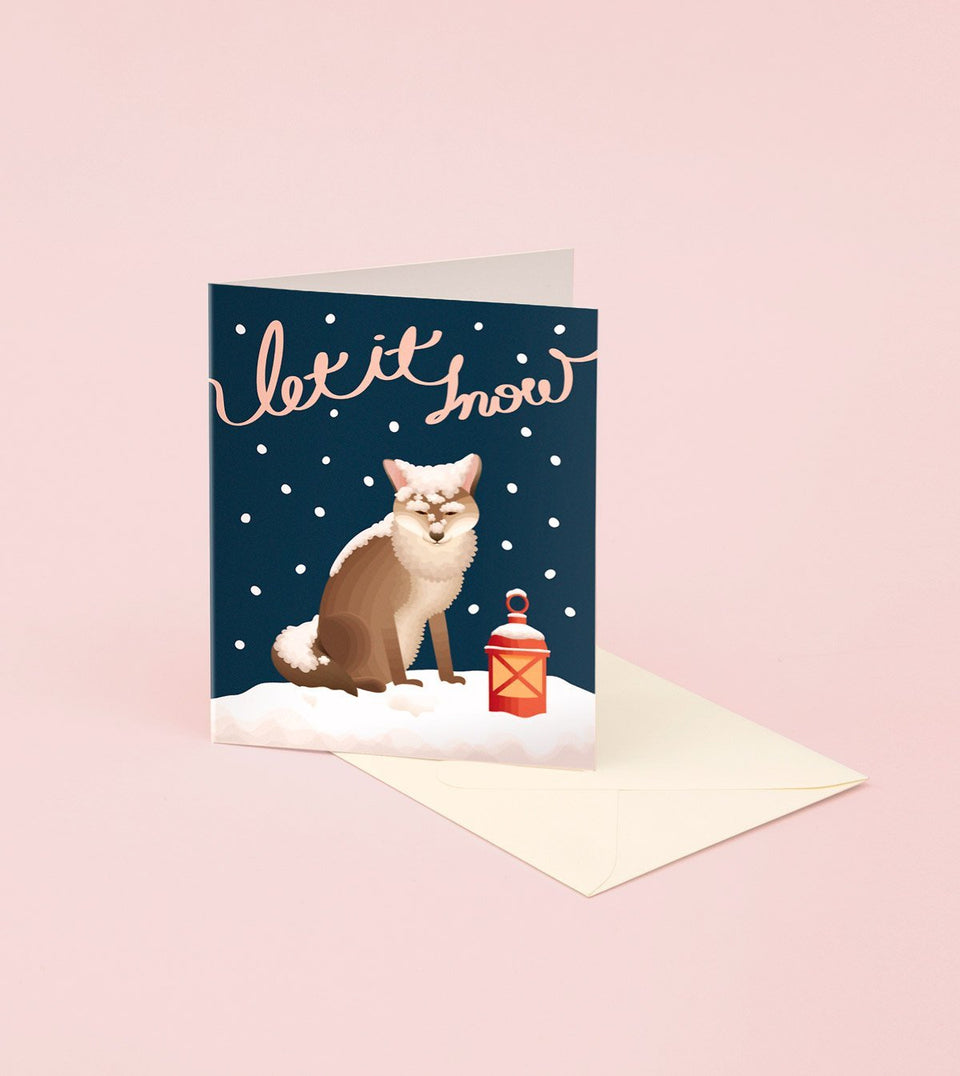 LET IT SNOW FOX CHRISTMAS CARD FOR HOLIDAYS - GH11 - Clap Clap