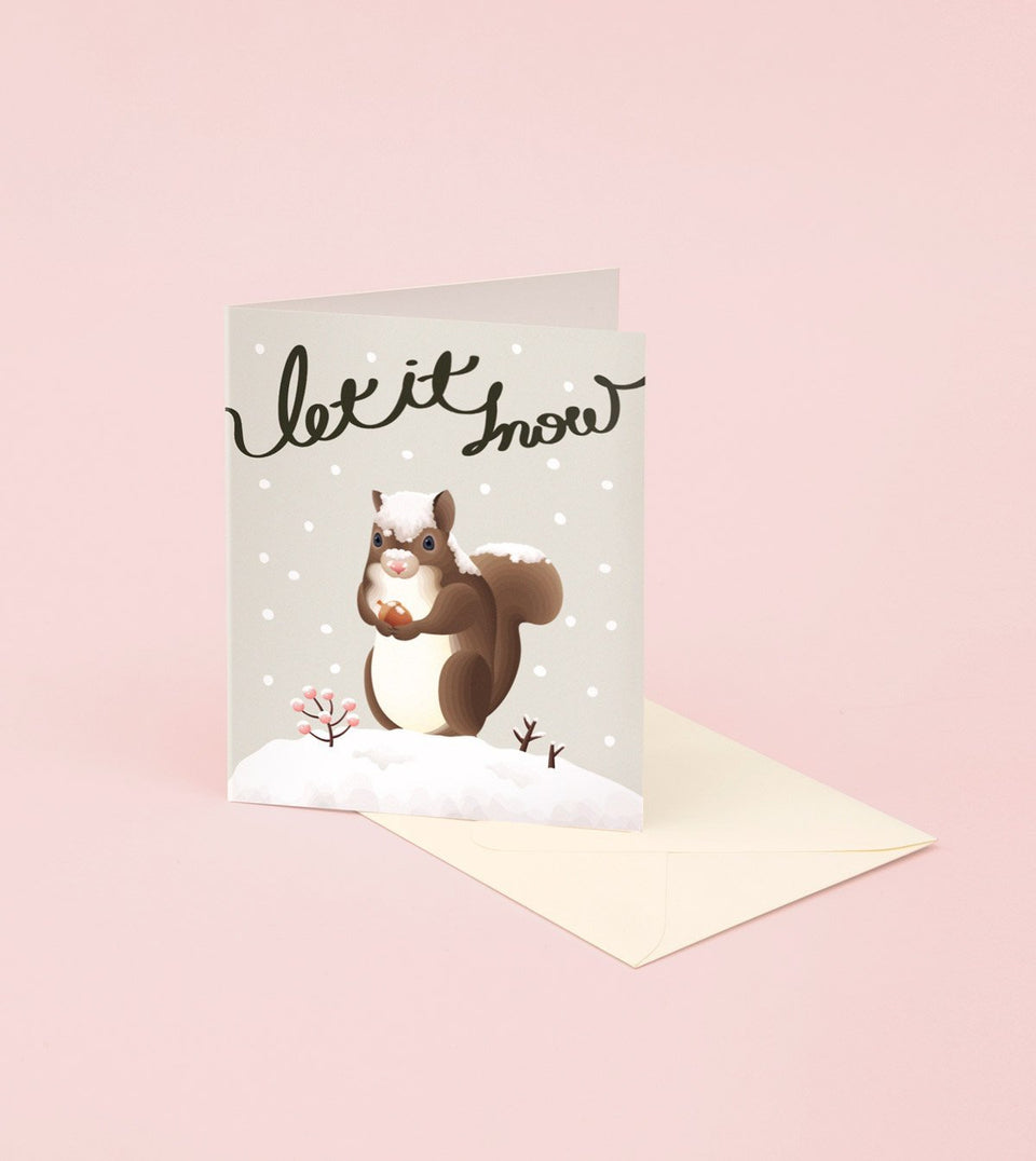 LET IT SNOW SQUIRREL CHRISTMAS CARD FOR HOLIDAYS - GH10 - Clap Clap