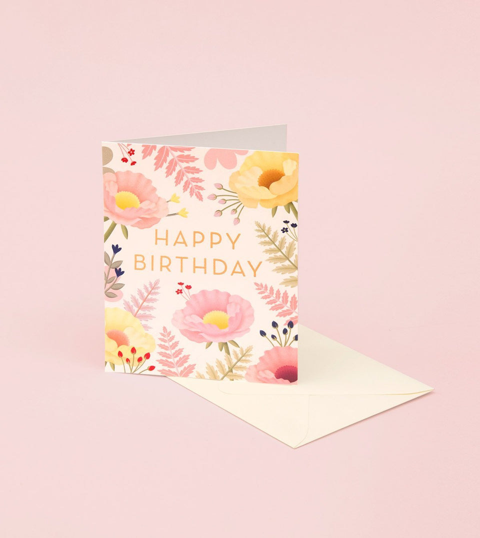 ORIENTAL POPPY BIRTHDAY CARD - GB20 - Clap Clap